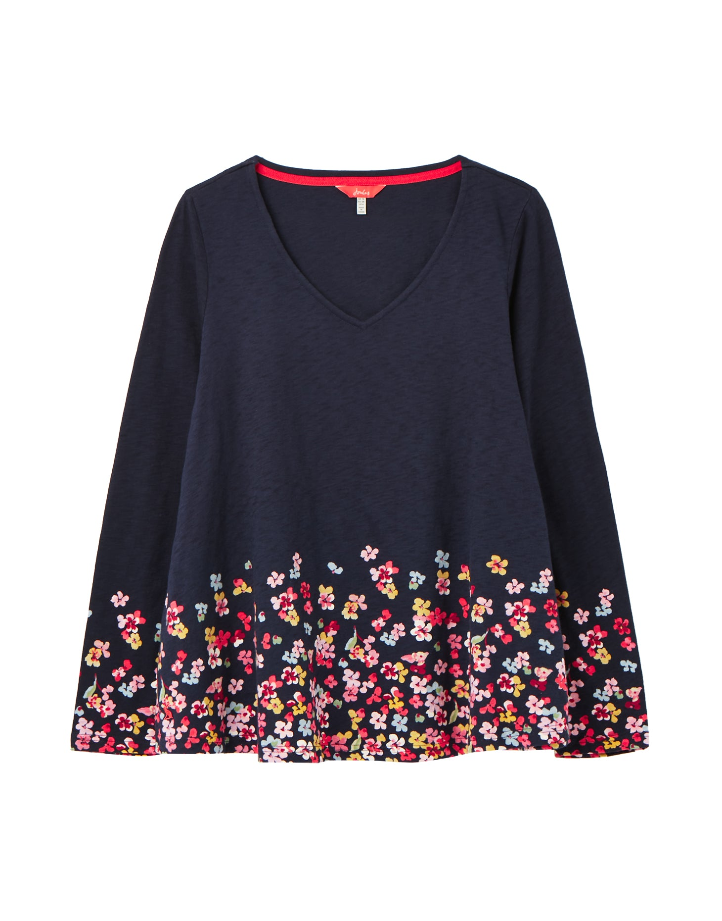 Joules Harbour Lightweight Swing V-Neck Jersey Top for Ladies in Navy Floral