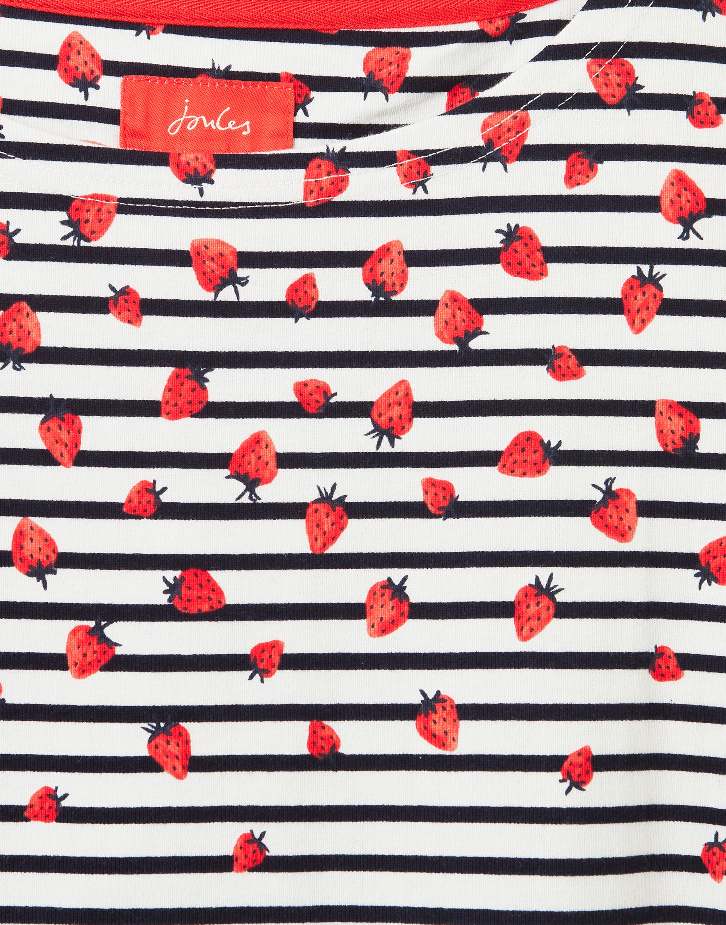 Joules Harbour Print Long Sleeve Jersey Top for Ladies in Strawberry Stripe