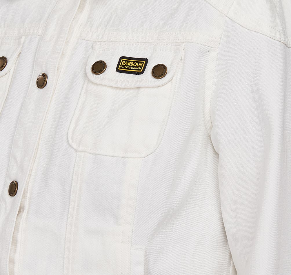 Barbour International Durness Casual Denim Jacket for Ladies in White