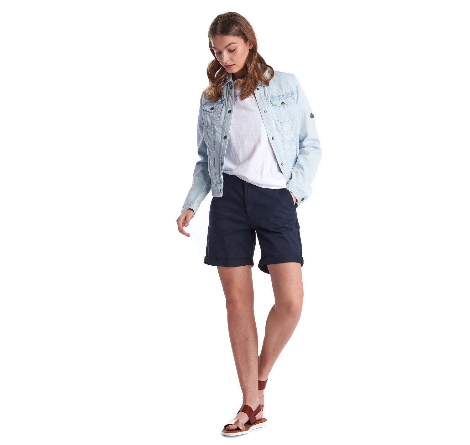 Barbour Ripple Denim Jacket for Ladies in Super Bleached Denim