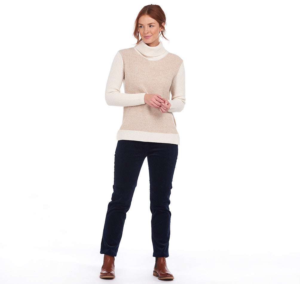 Barbour Dipton Roll Collar Jumper for Ladies in Caramel