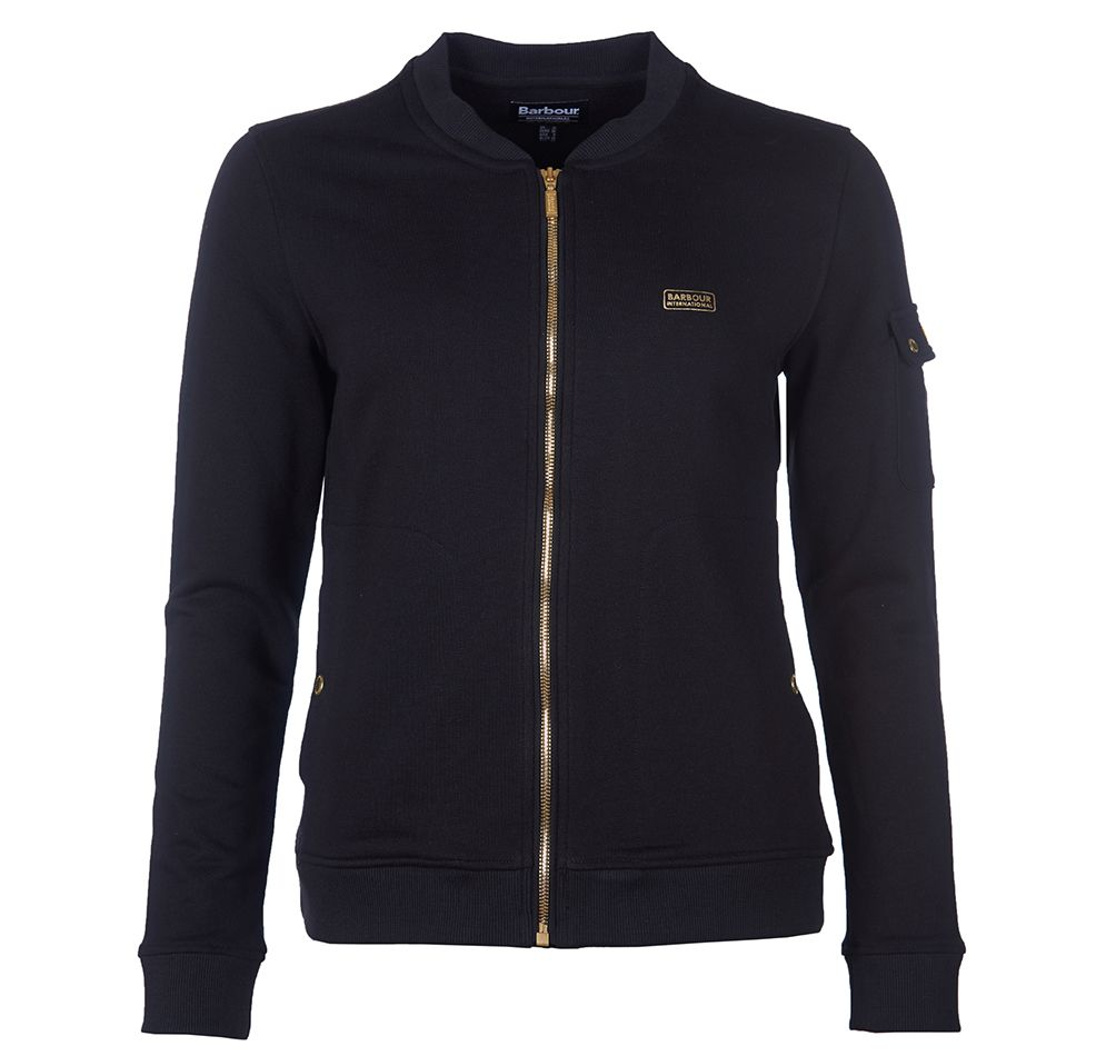 Barbour International Magna Overlayer Sweatshirt for Ladies in Black