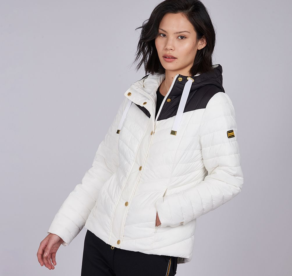 Barbour International Lightning Quilt for Ladies in Optic White /  Black