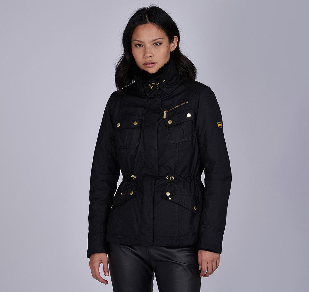 Barbour International Brno Wax Jacket for Ladies in Black