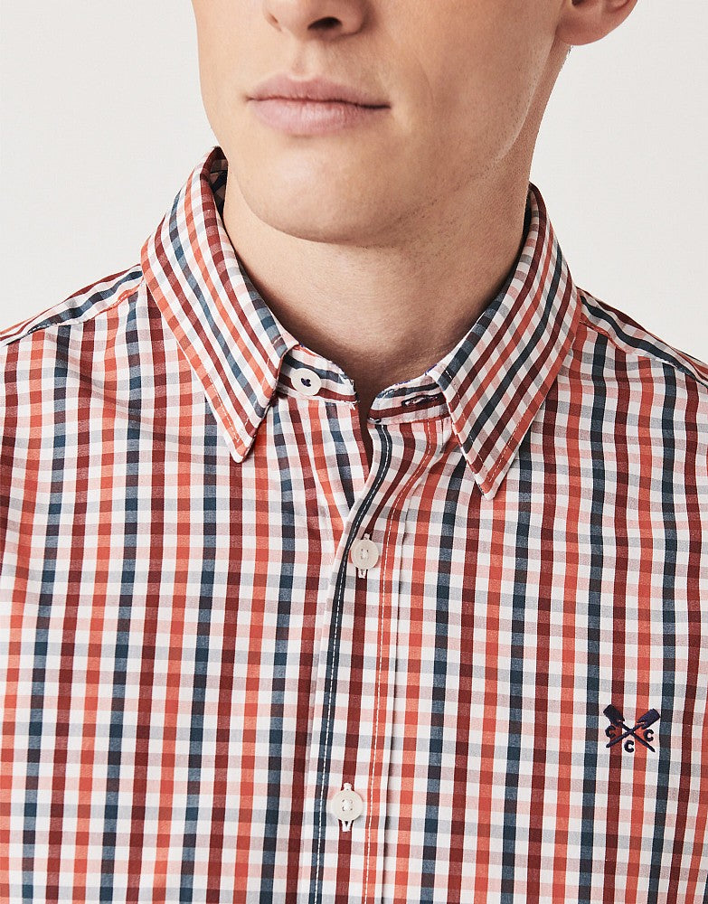 Crew Clothing Classic Gingham Shirt for Men in Orange
