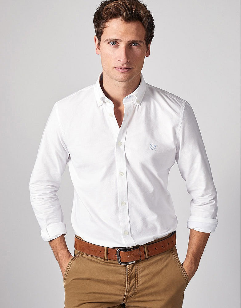 Crew Clothing Slim Oxford Shirt for Men in White