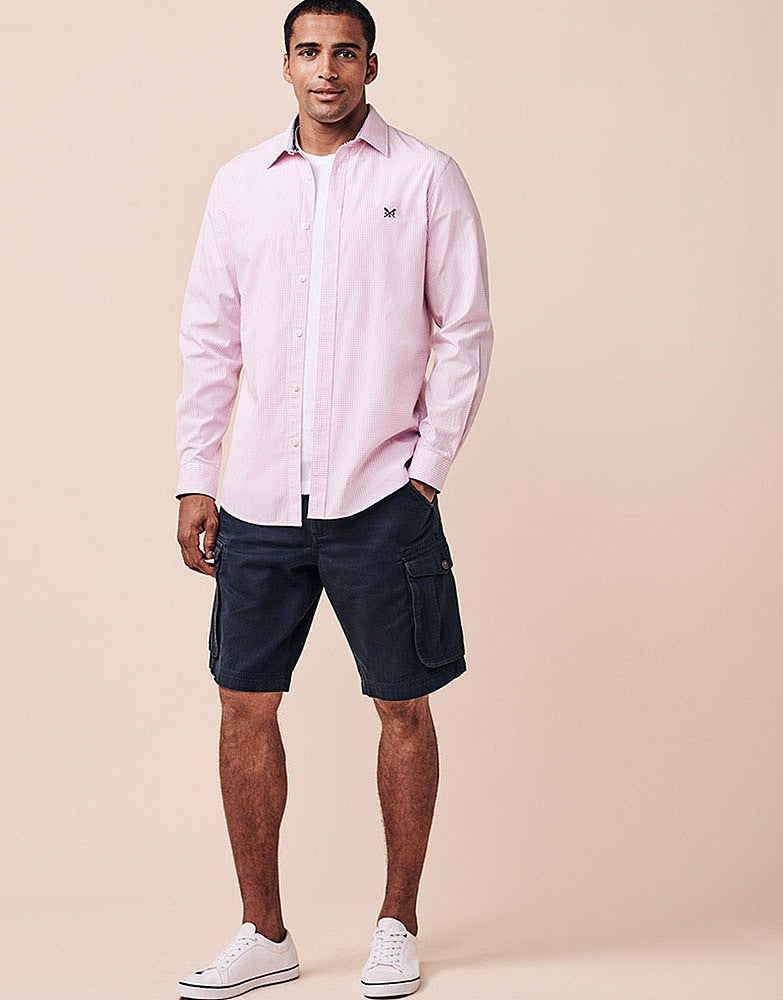 Crew Clothing Classic Micro Stripe Shirt for Men in Classic Pink