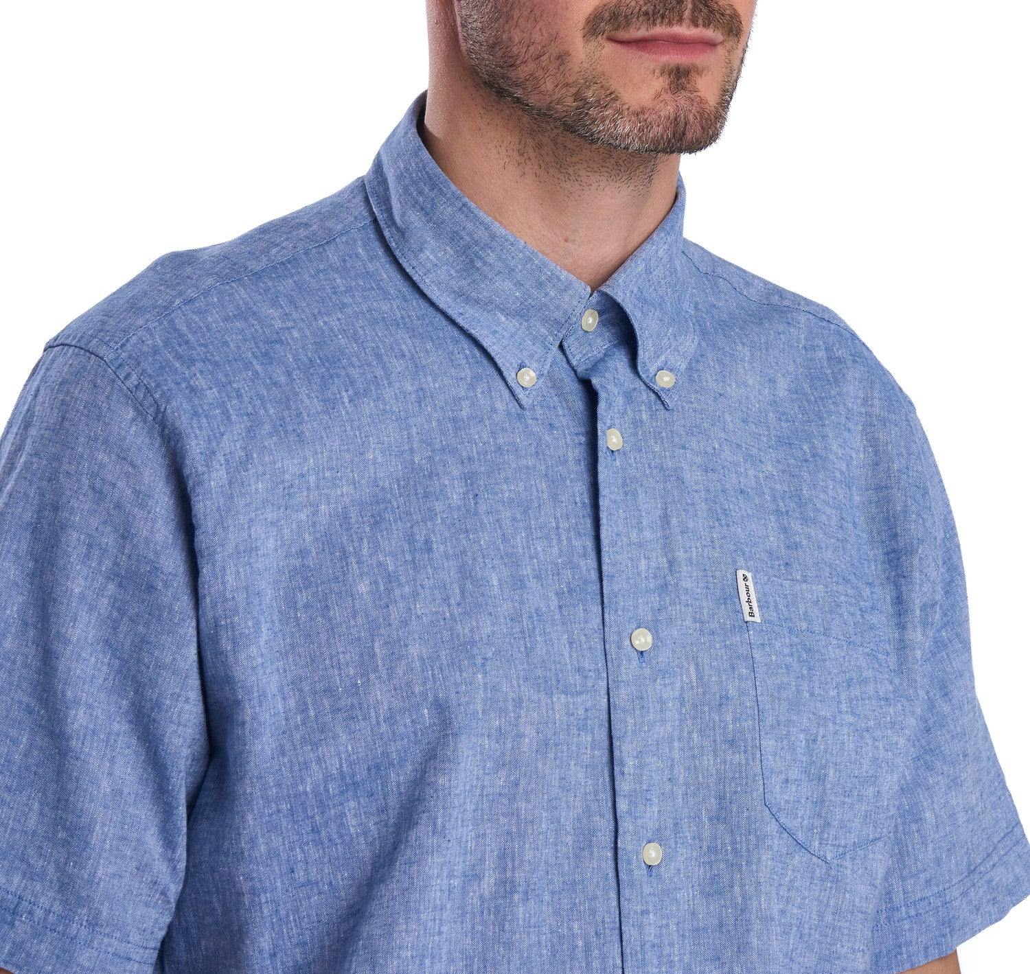 Barbour Linen 1 Short Sleeve Regular Fit Shirt for Men in Blue