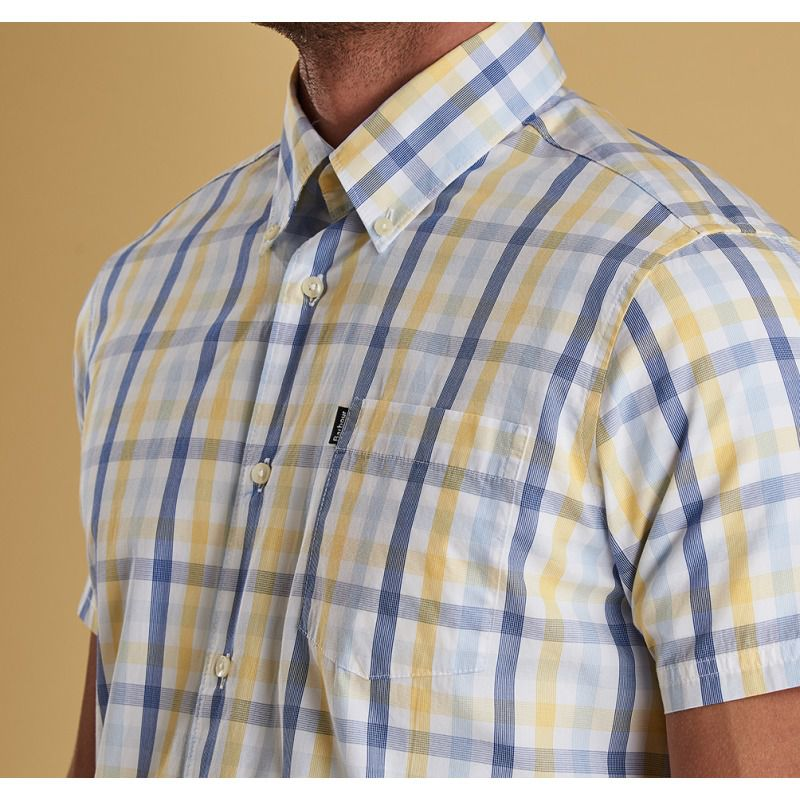 Barbour Tattersall 14 Short Sleeve Tailored Fit Shirt for Men in Lemon