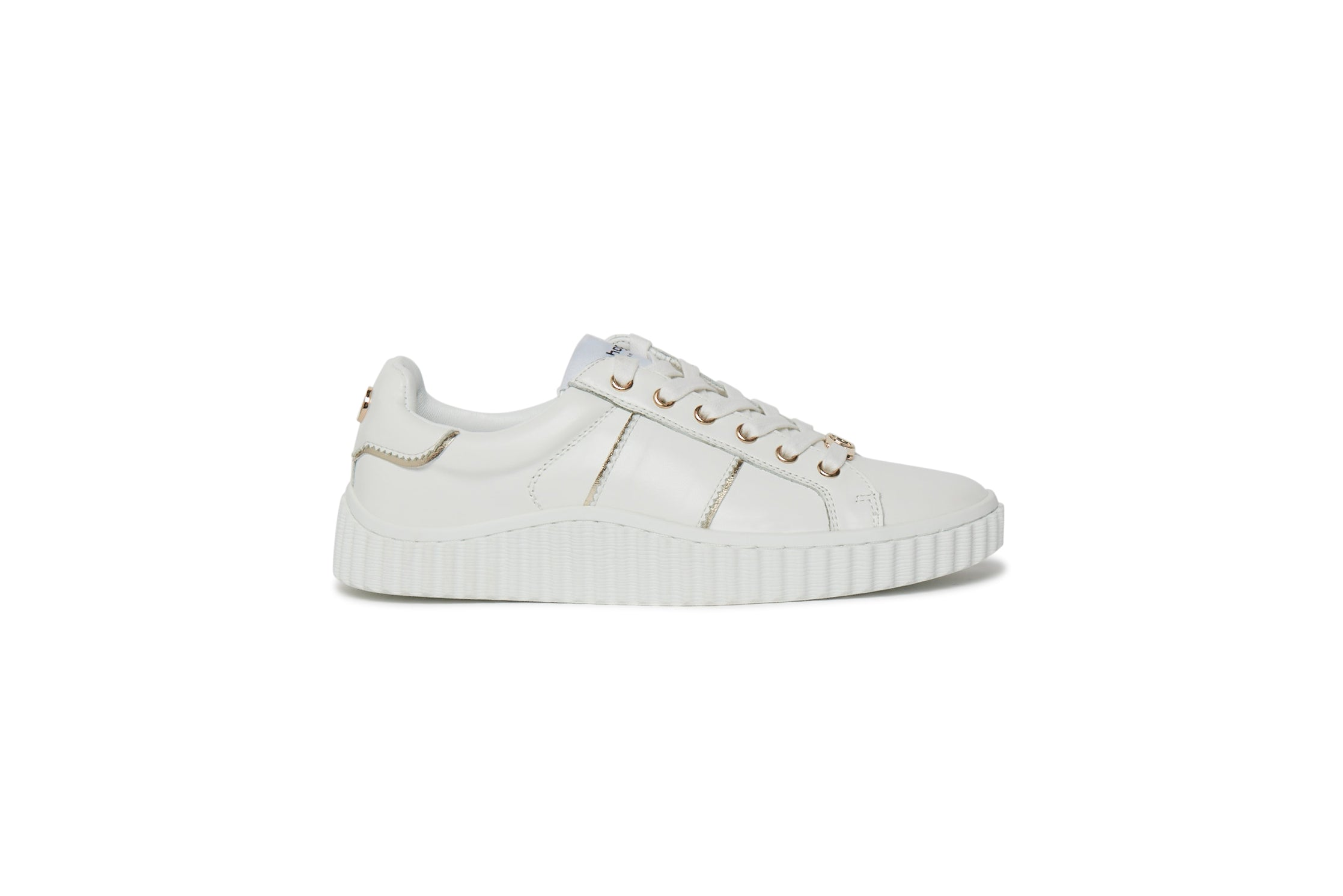 Phillip Hog Mila Leather Trainer for Ladies in White / Gold