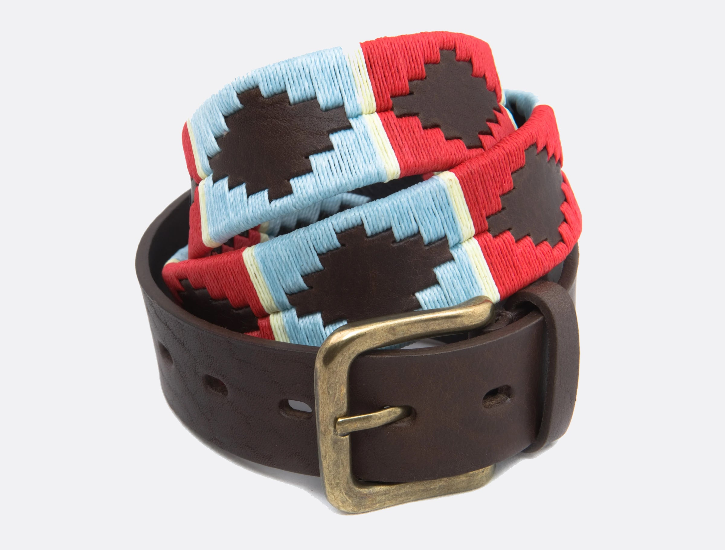 Pioneros Brown Polo Belt in Pale Blue/Red and White Stripe
