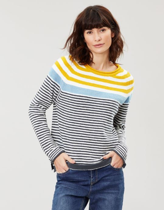 Joules Seaport Roll Neck Jumper for Ladies in Cream Grey Blue