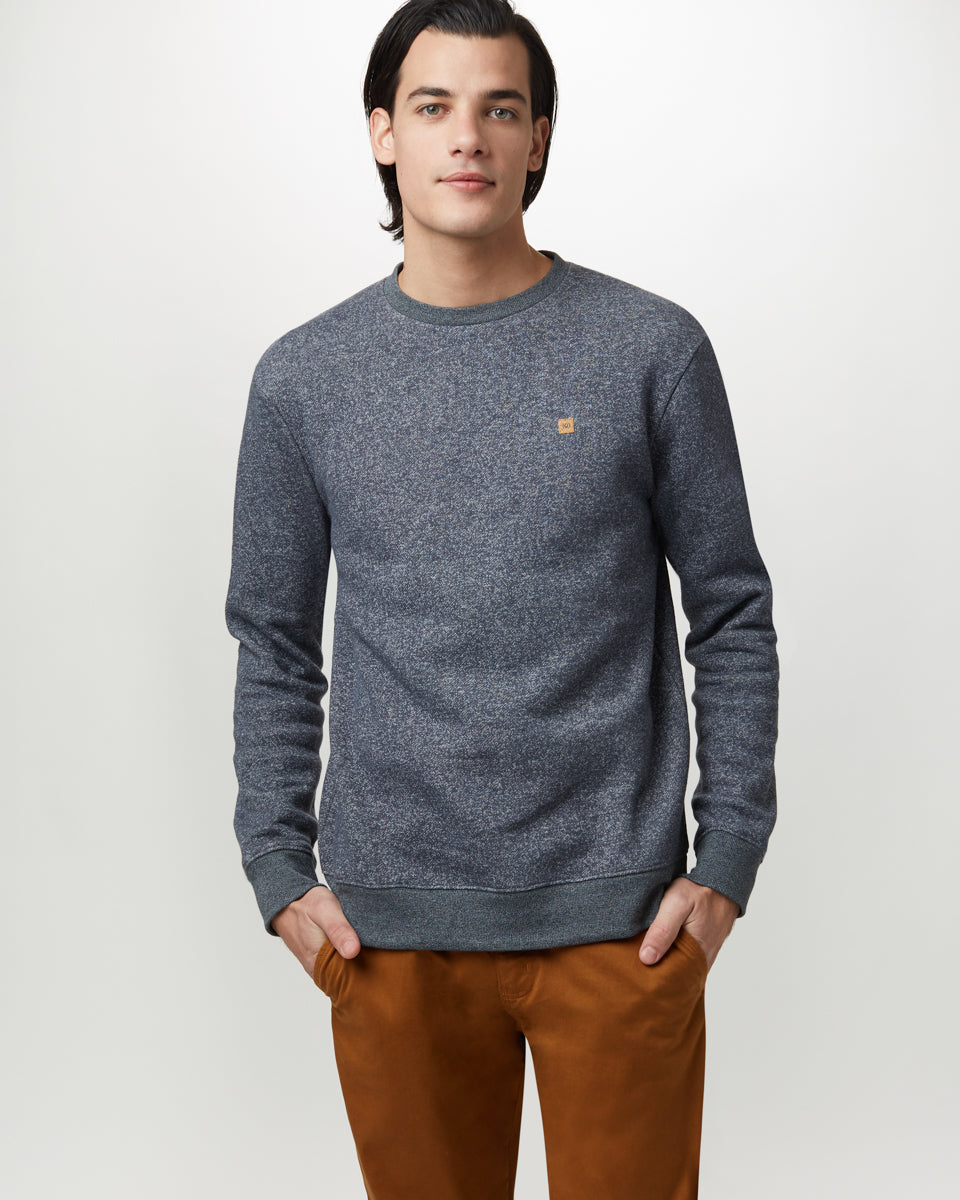 Tentree Classic Crew for Men in Dark Ocean Blue Marled