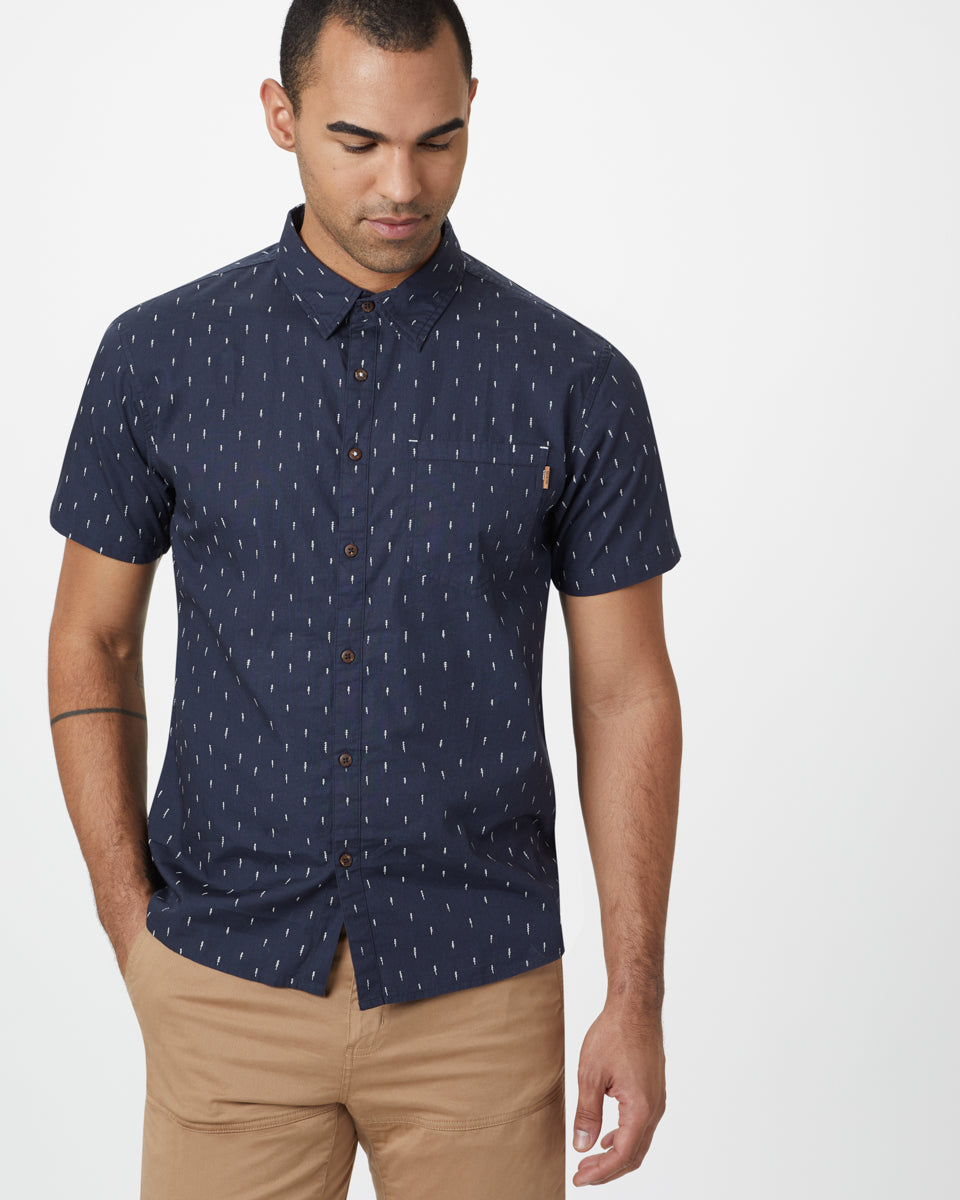 Tentree Cotton Short Sleeve Button for Men in Dark Ocean Blue Small Tree