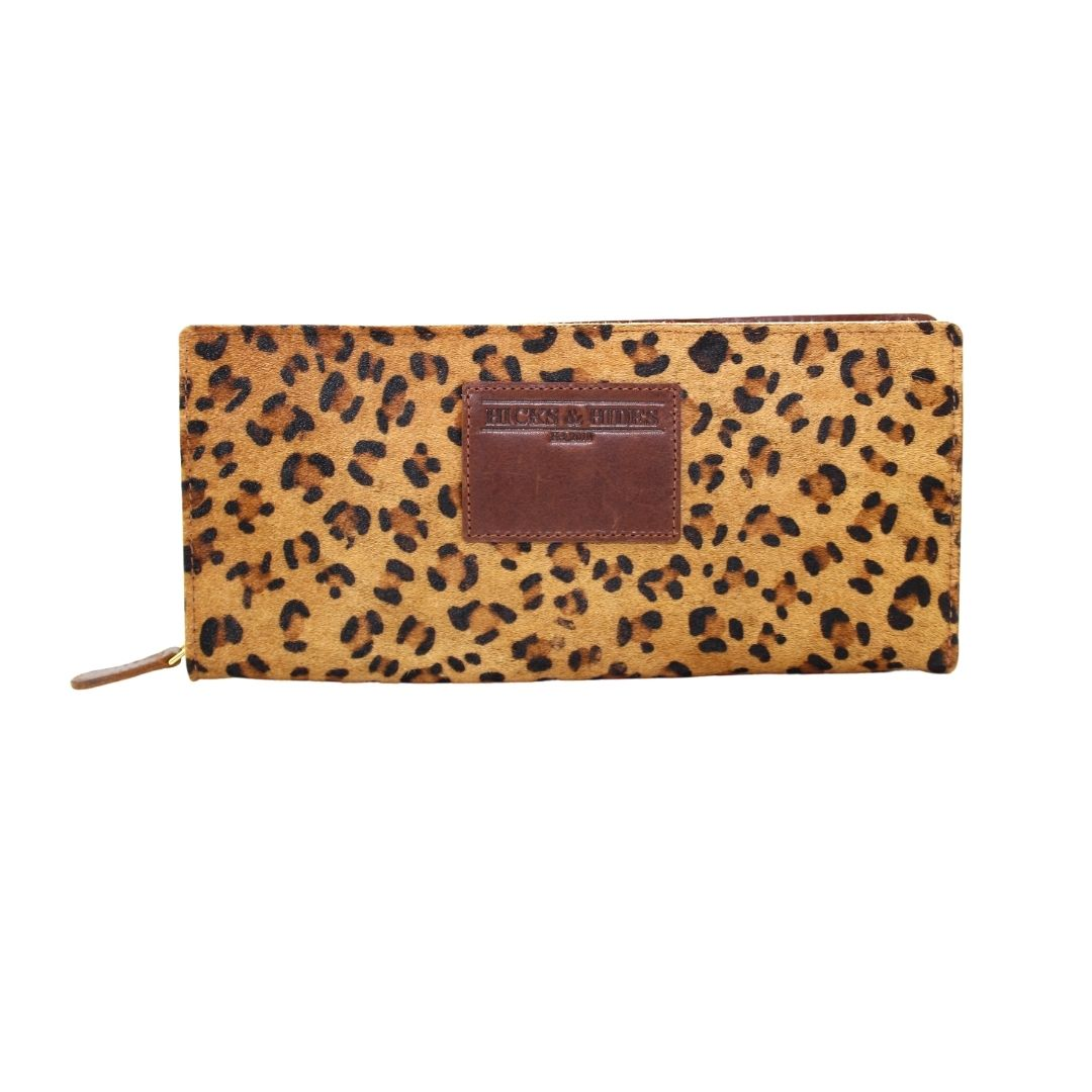 Hicks and Hides Leopard Print Zip Around Purse