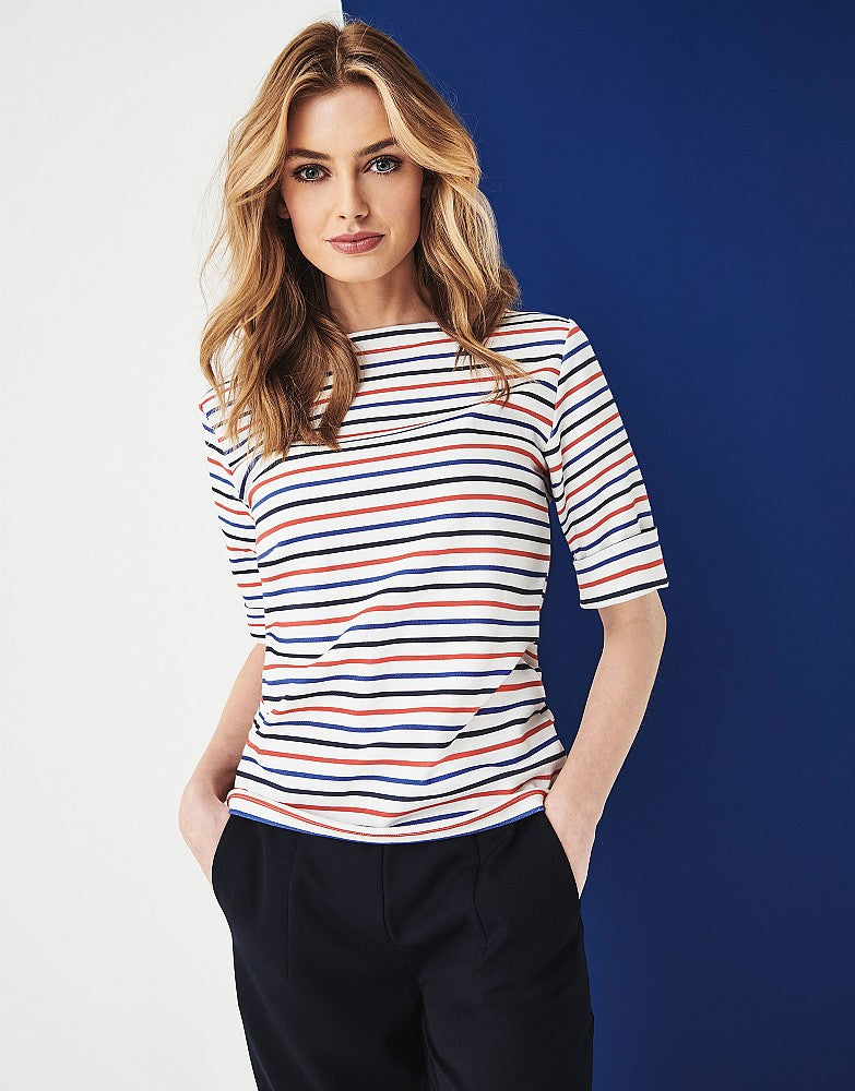Crew Clothing Orchid Stripe Top for Ladies in Navy Red Marine