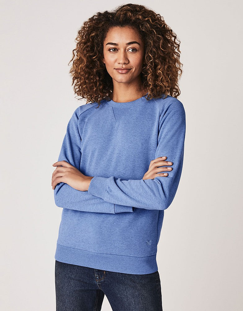 Crew Clothing Marl Overdyed Sweatshirt for Ladies in Blue