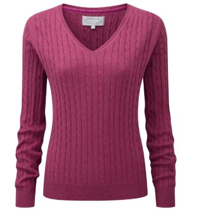 Schoffel Cotton Cashmere Cable Knit V Neck for Ladies in Raspberry