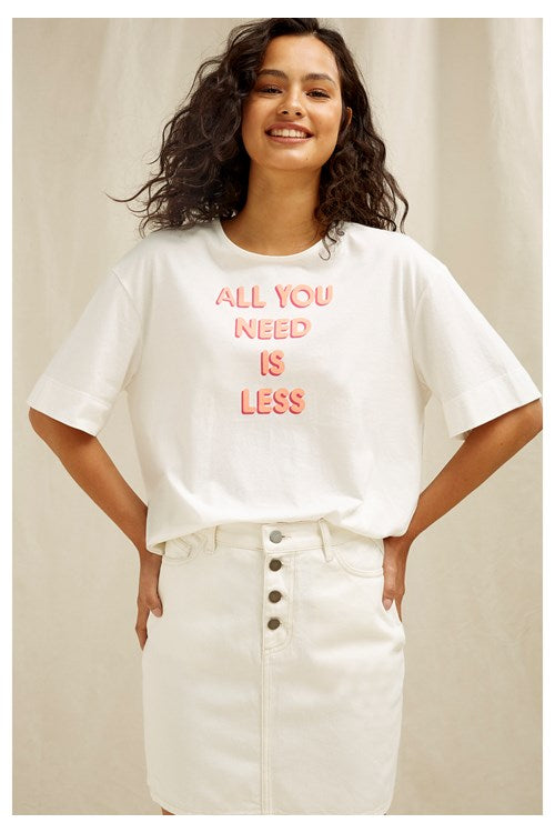 People Tree All You Need Is Less Tee for Ladies in White