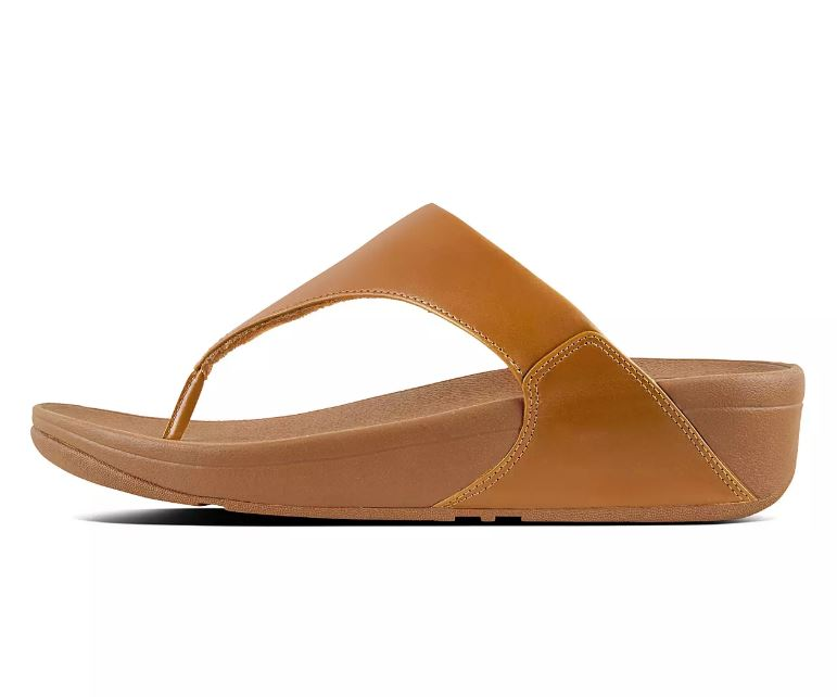 Fitflop Lulu Leather Toe Post Sandals for Ladies in Caramel