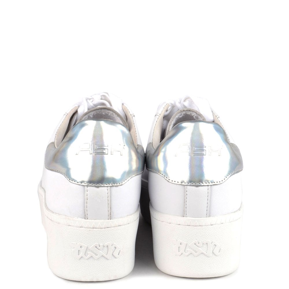 Ash Cult Nappa Leather Trainer for Ladies in White / Silver