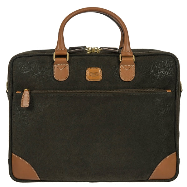 Brics Life 2 Handle Briefcase in Olive