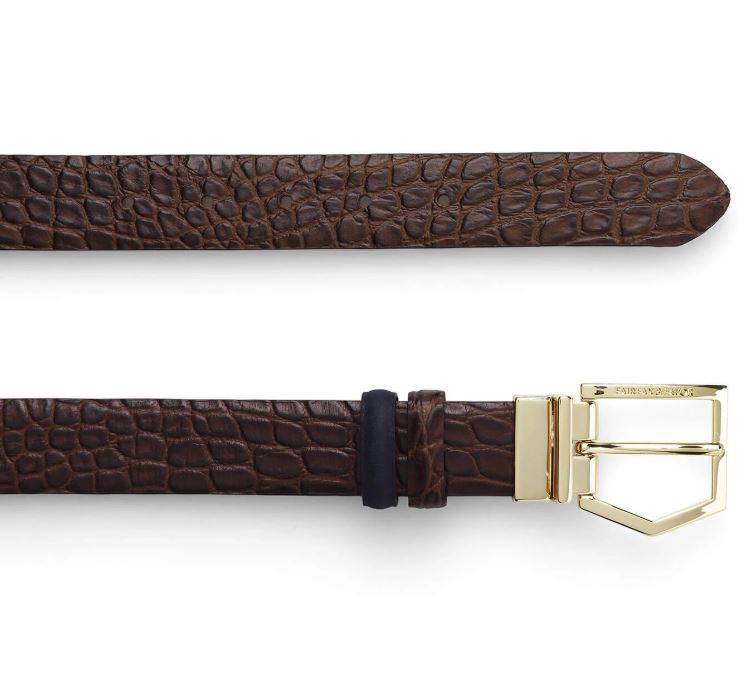 Fairfax and Favor Blicking Reversible Belt in Navy/Croc