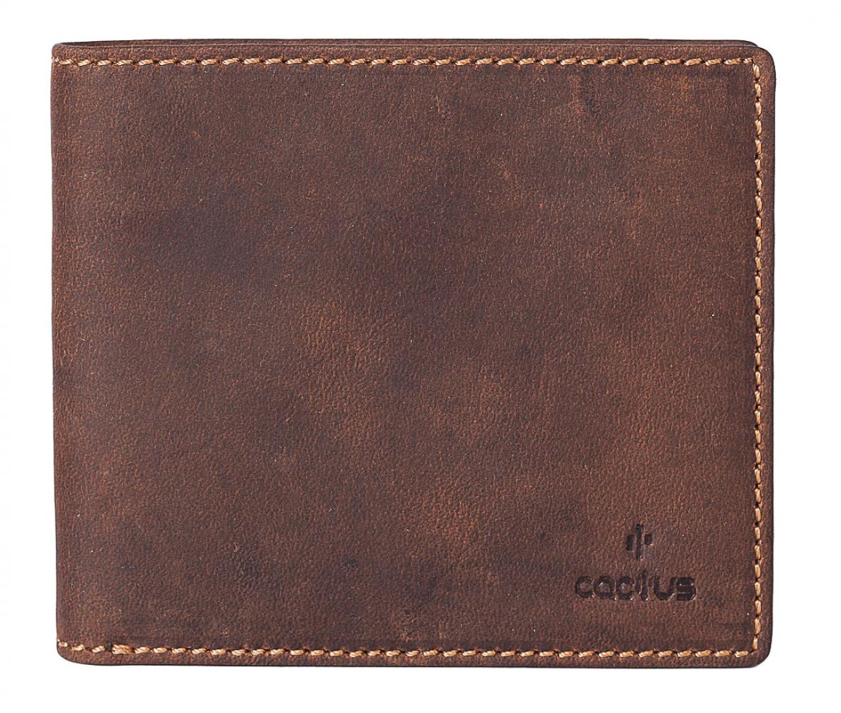 Cactus Basic Leather RFID Wallet in Brown