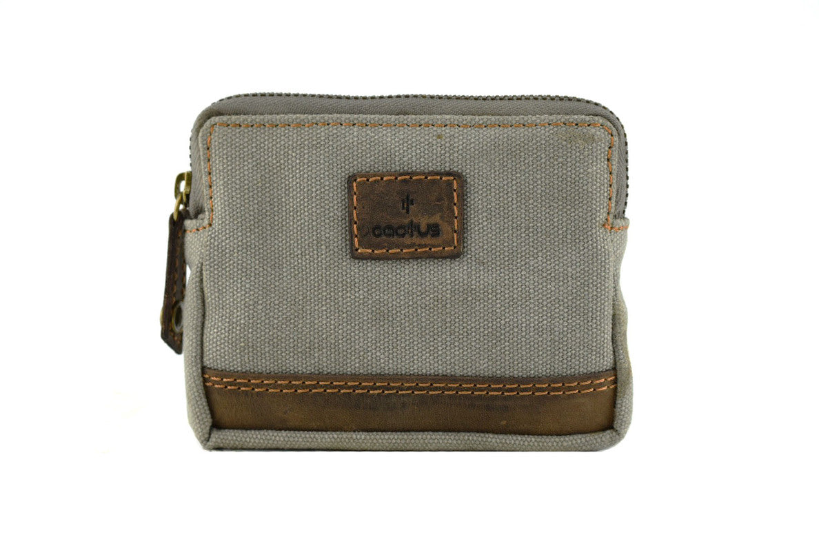 Cactus RFID Canvas Coin Purse in Khaki