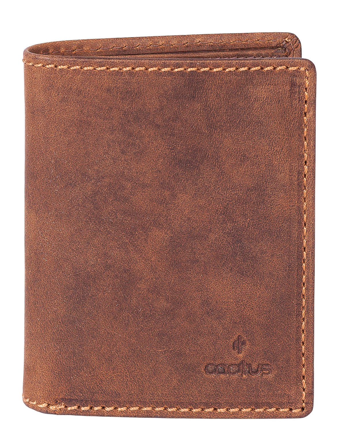 Cactus Leather Zip Around Wallet in Brown