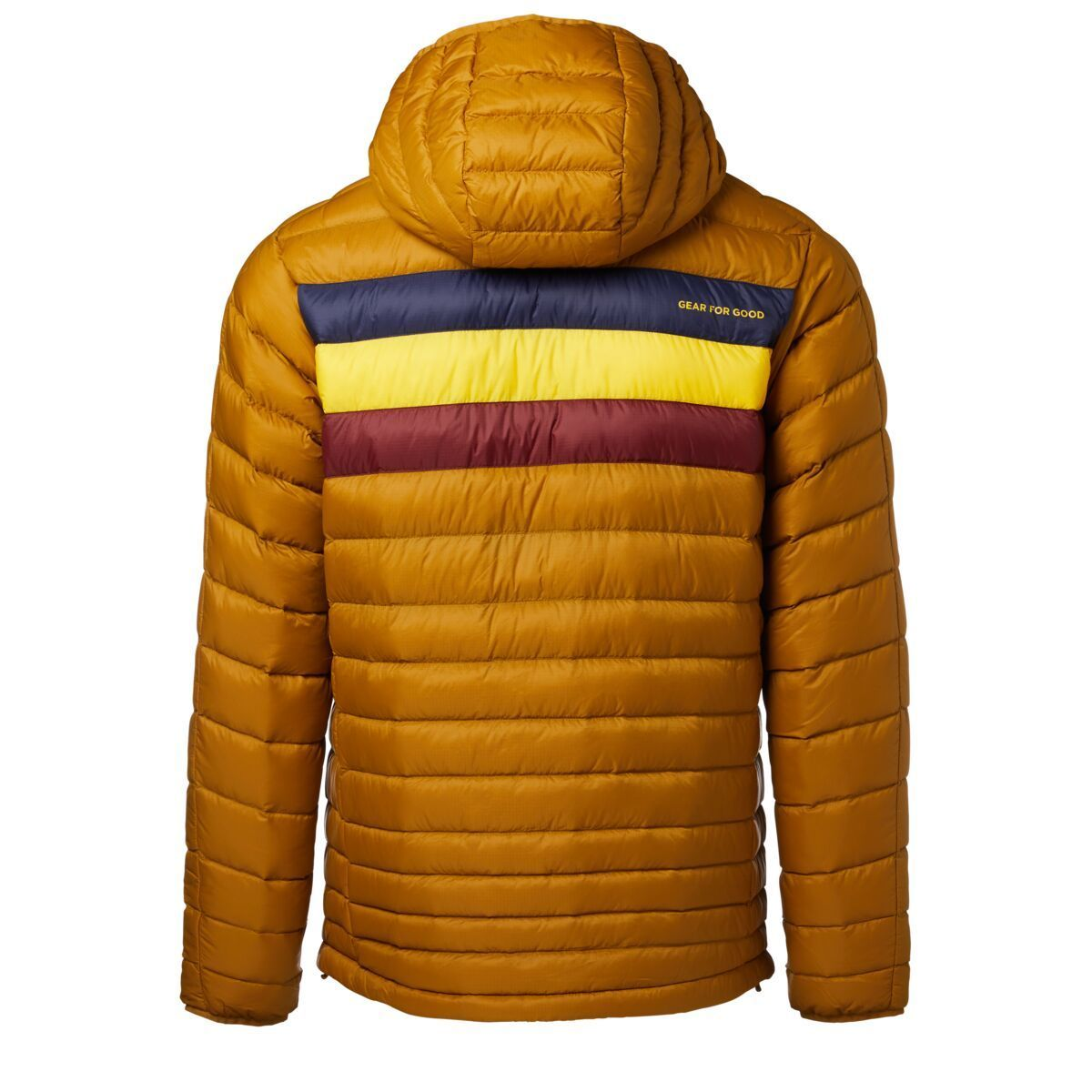 Cotopaxi Fuego Down Hooded Jacket for Men in Bronze Stripes