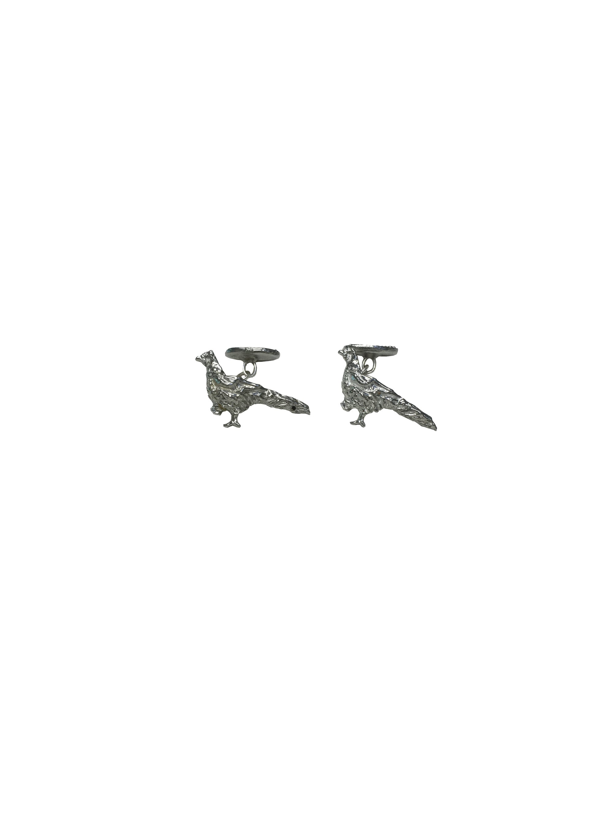 Schoffel Pheasant Cufflinks for Men in Pewter