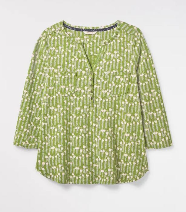 White Stuff Delilah Jersey Shirt for Ladies in Ivy Green