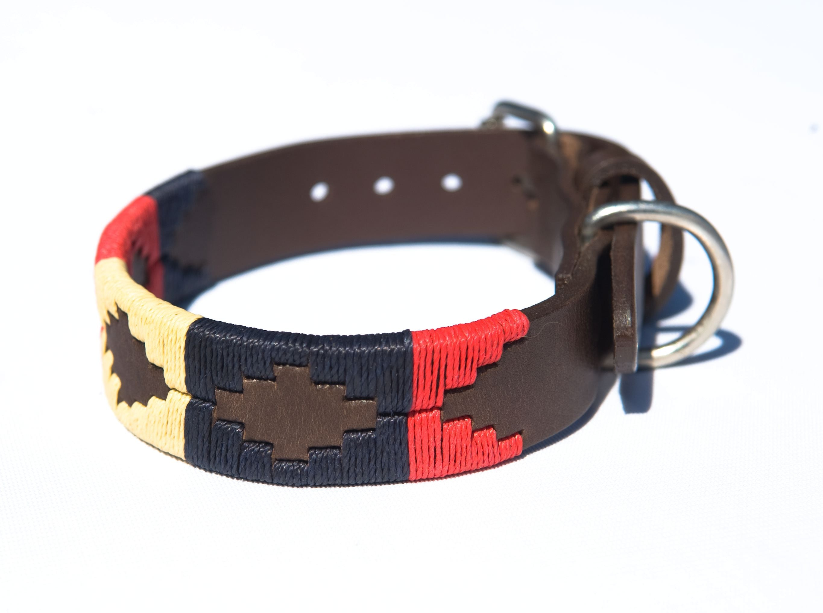 Pioneros Argentinian Polo Belt Style Dog Collar in Navy/Cream/Red