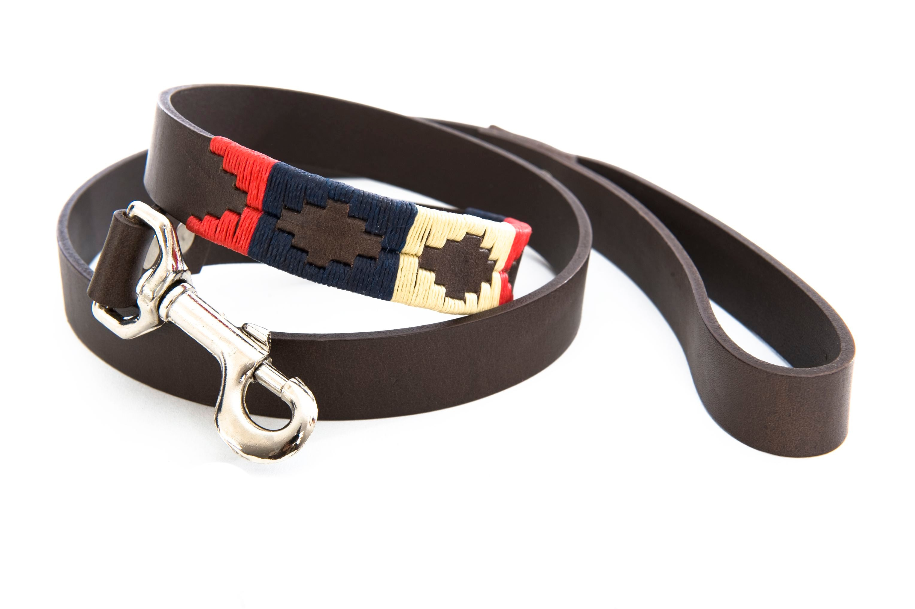 Pioneros Brown Polo Belt Style Dog Lead in Navy/Cream/Red