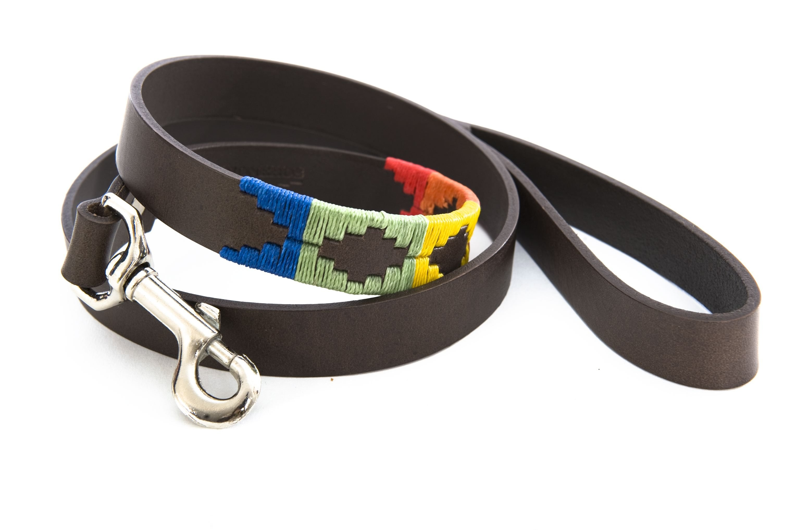 Pioneros Brown Polo Belt Style Dog Lead in Rainbow