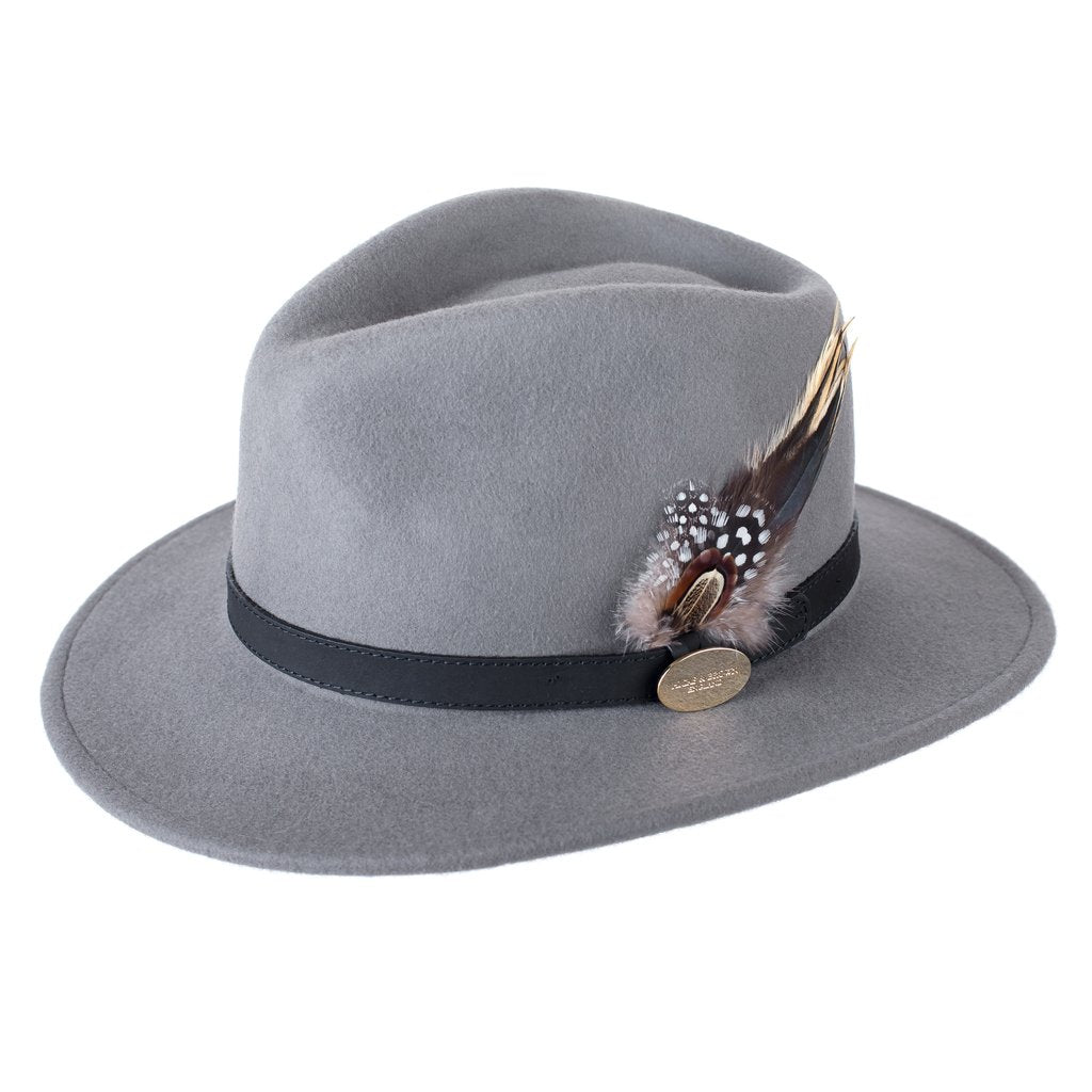 Hicks and Brown Suffolk Fedora in Grey Guinea and Pheasant