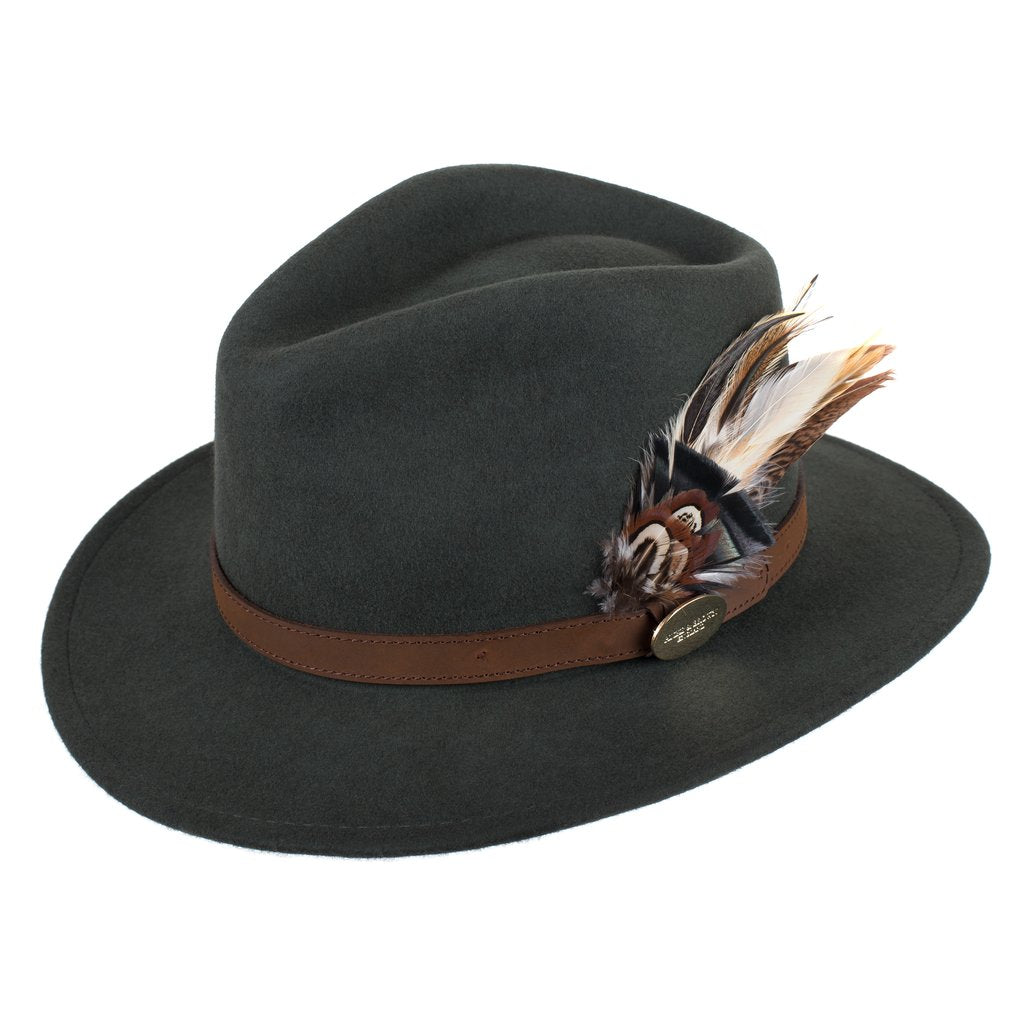 Hicks and Brown Suffolk Fedora in Olive Gamebird Feathers