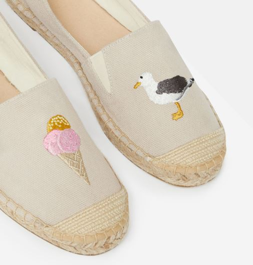 Joules Shelbury Embroidered Espadrille Shoes for Ladies in Grey Seagull