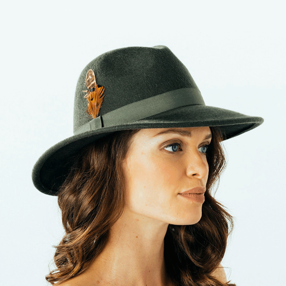 Failsworth Brushed Wool Felt Trilby Hat for Ladies in Forest