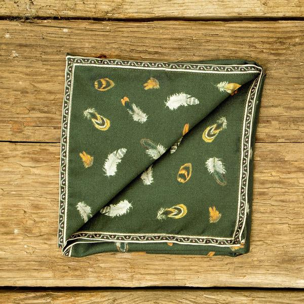 Bhoid Feather Pocket Square for Men in Green