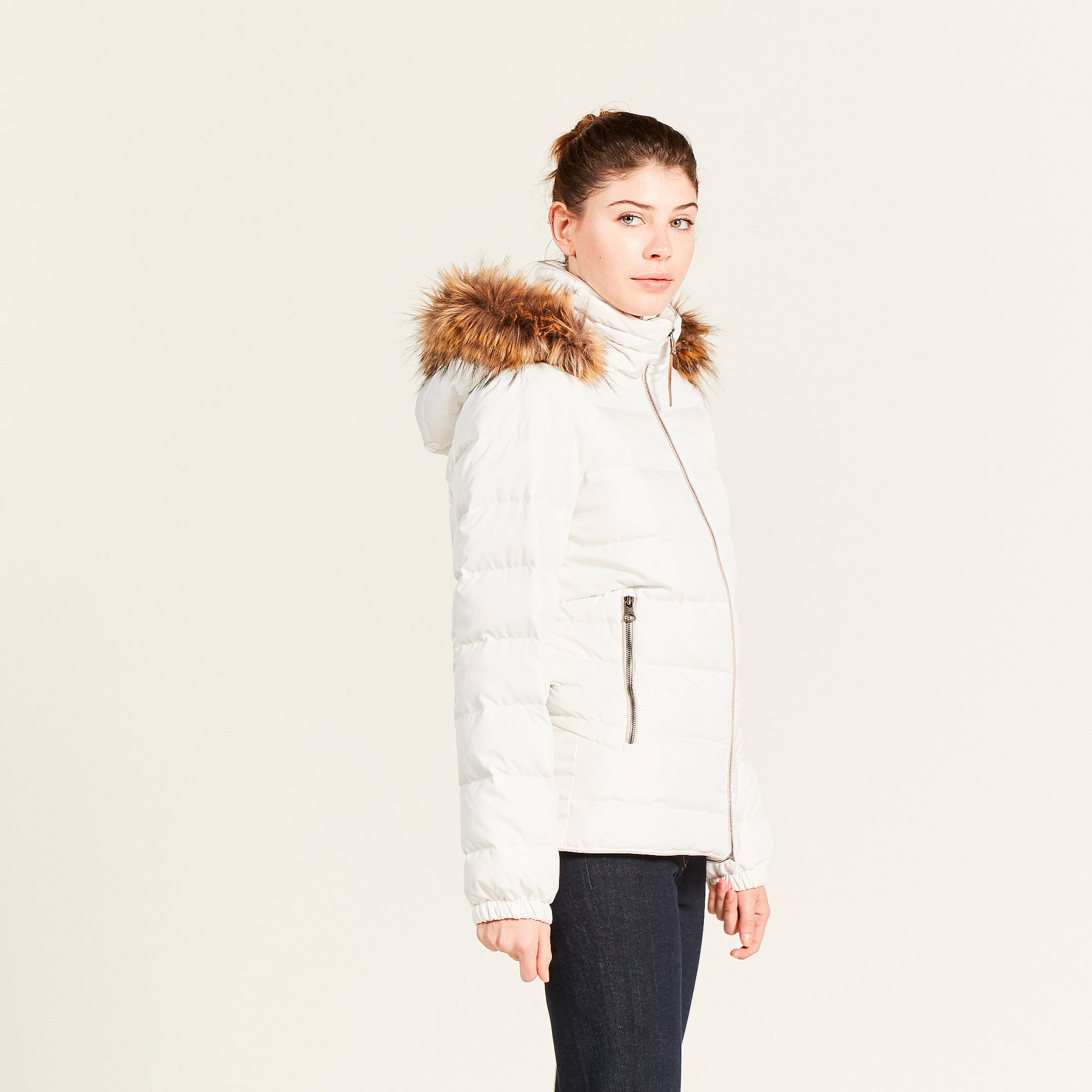Aigle Rigdown Short Quilted Jacket for Ladies in Off White