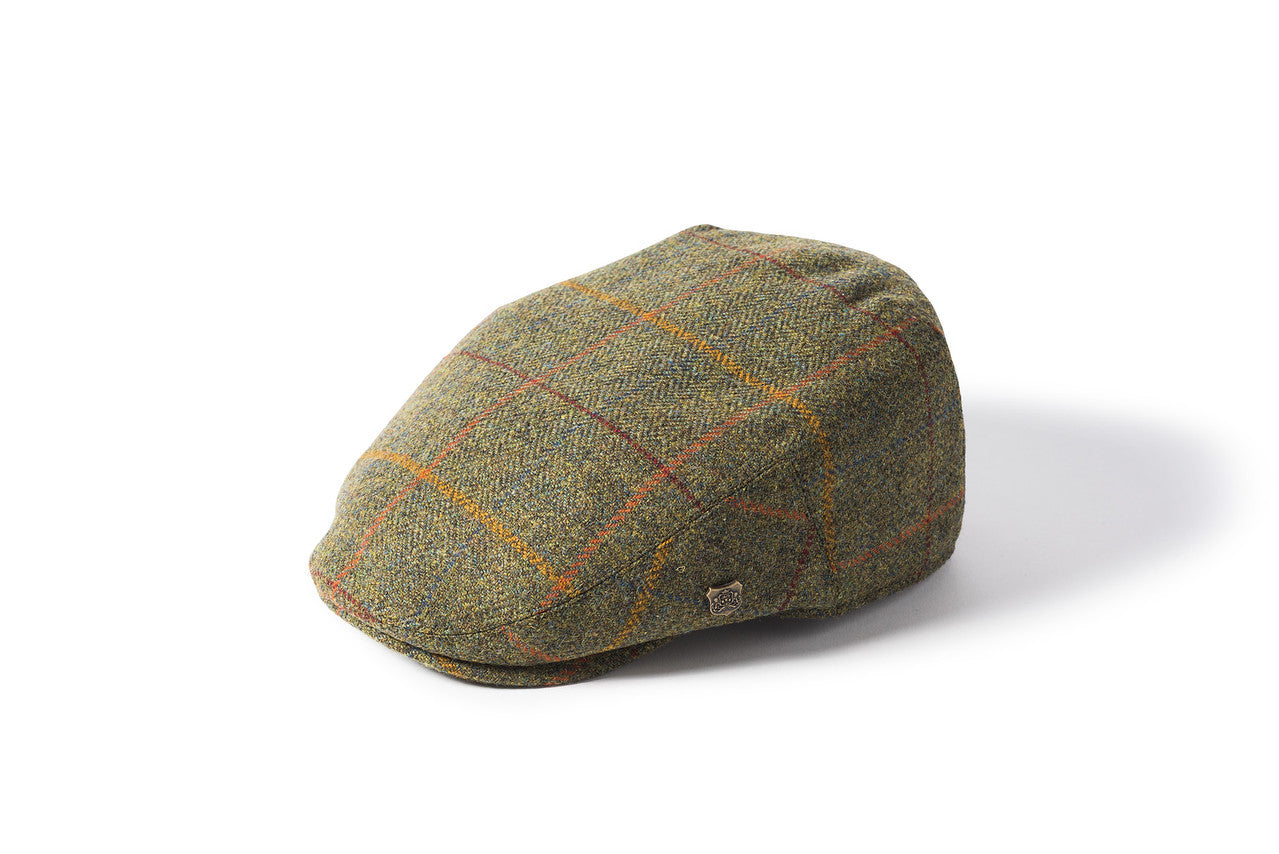 Failsworth Gamekeeper Tweed Cap for Men in Orange Check