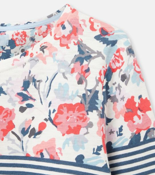 Joules Harbour Print Swing Top for Ladies in Cream Blue Floral