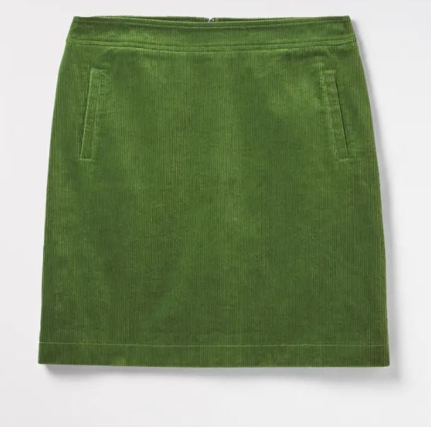 White Stuff Iris Cord Skirt for Ladies in Green