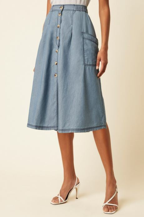 Great Plains Luca Denim Midi Skirt for Ladies in Mid Blue