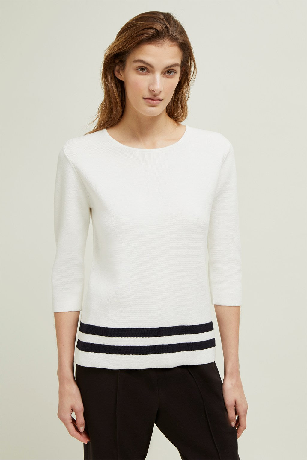 Great Plains Haze Stripe LS Jumper for Ladies in Milk/ Dark Navy