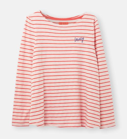 Joules Harbour Top for Ladies in Pink Red Stripe