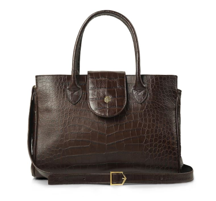 Fairfax and Favor Langley Leather Handbag for Ladies in Chocolate Croc