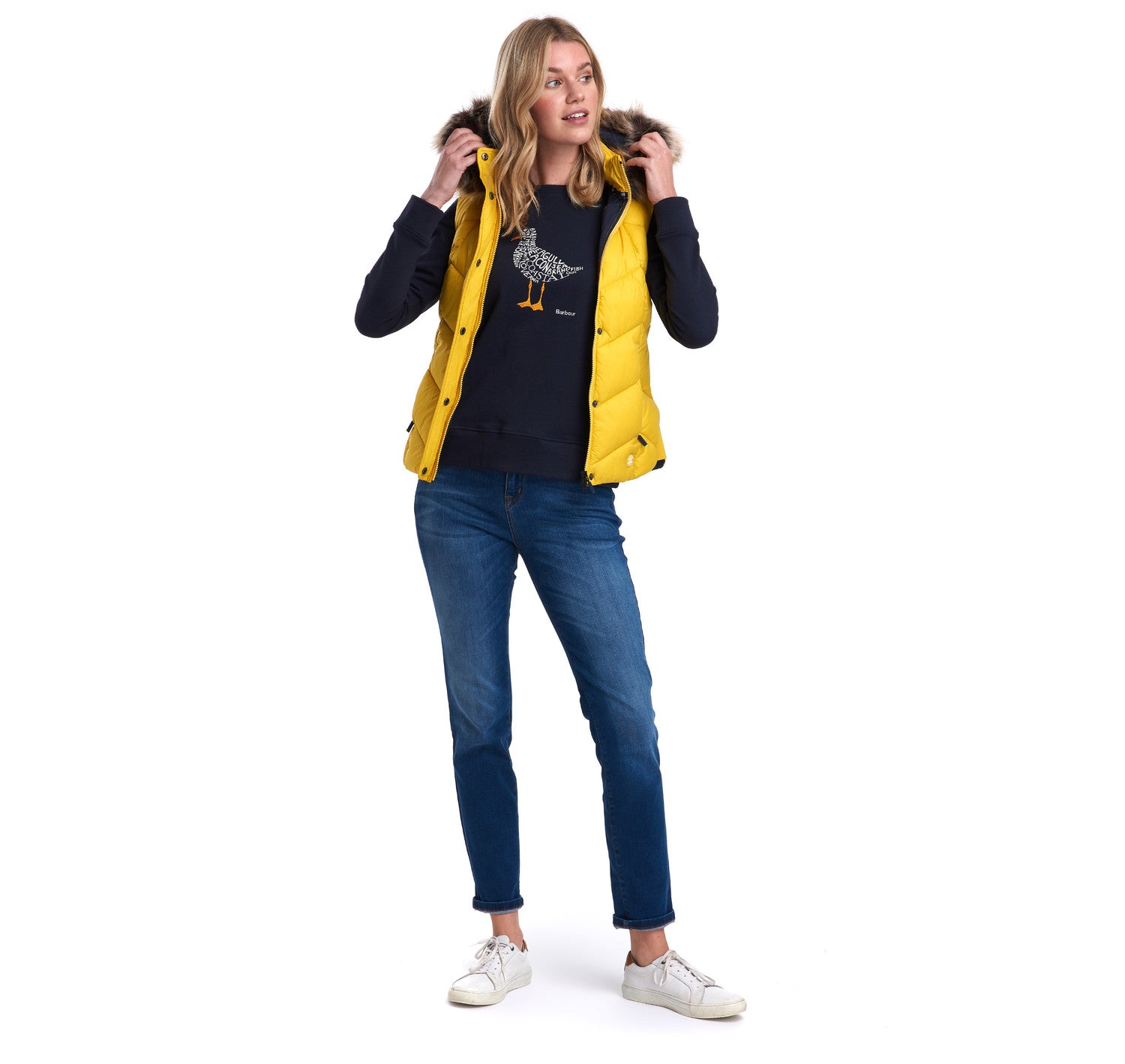 Barbour Downhall Gilet for Ladies in Yellow